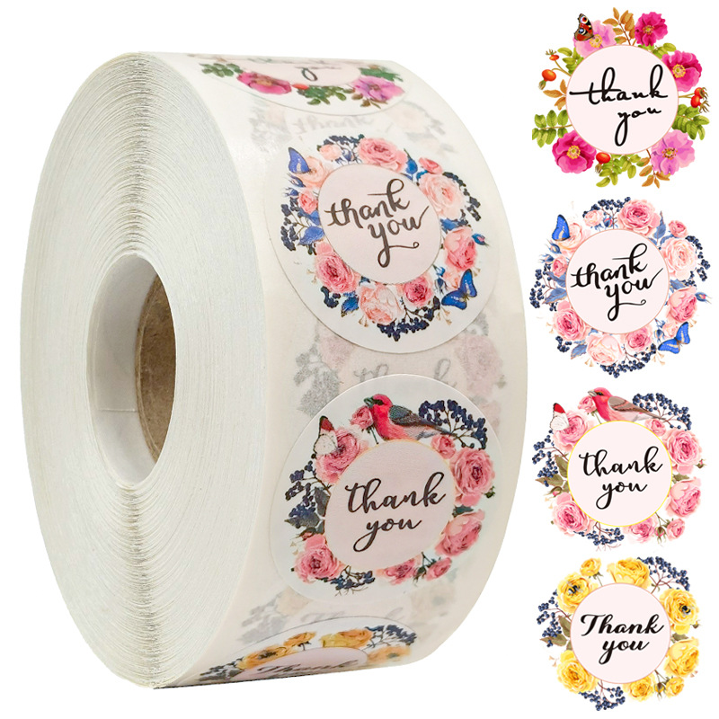 500pcs/roll Thank You Stickers for Seal Labels 1 Inch Gift Packaging Stickers Birthday Party Offer Stationery Sticker 1