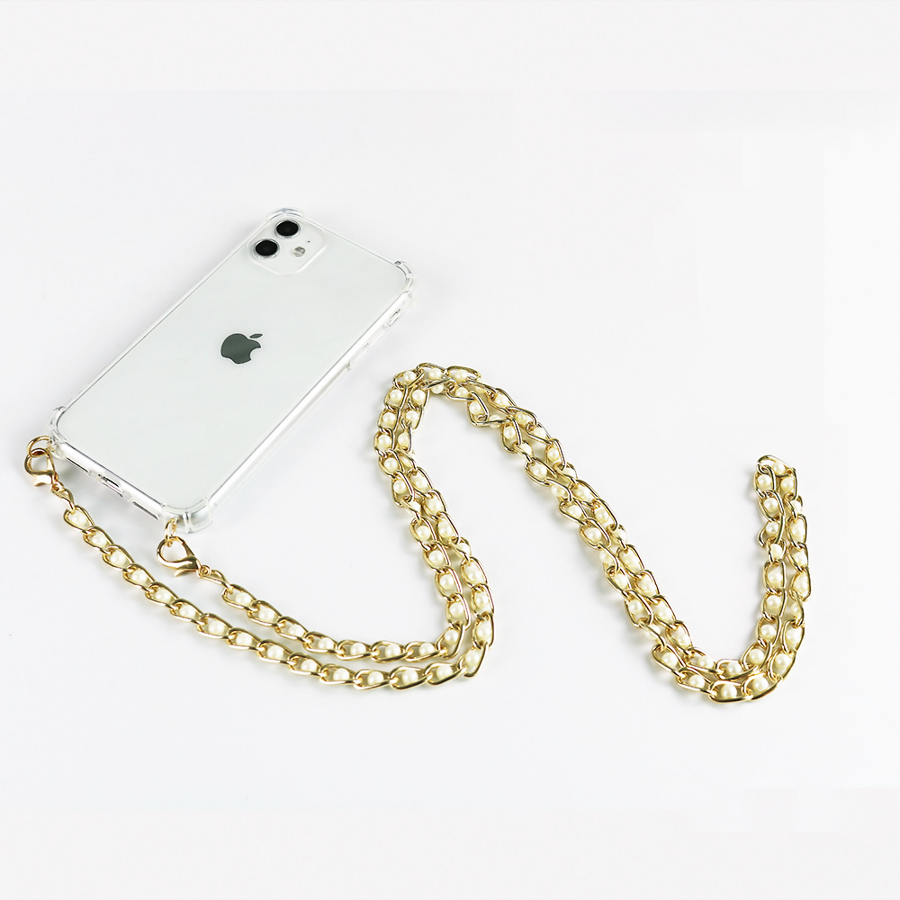 Luxury Transparent Pearl strap Chain Necklace Cell Phone Case For iPhone 11 pro 7 8 6s 6P XR XS Max Soft Cover with Metal chain