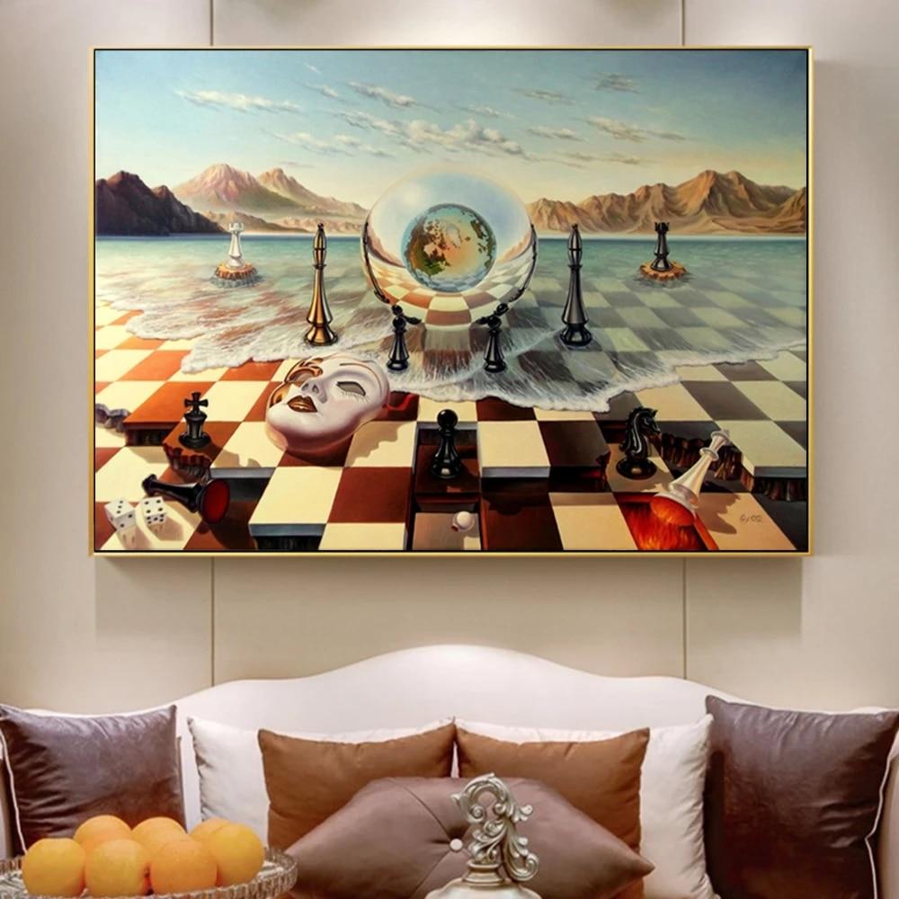 قناع شطرنج سلفادور دالي على قماش البحر ، ملصقات ومطبوعات تجريدية ، صور  جدارية لغرفة المعيشة ، ديكور منزلي | صفحة التفاصيل :: Kolmin