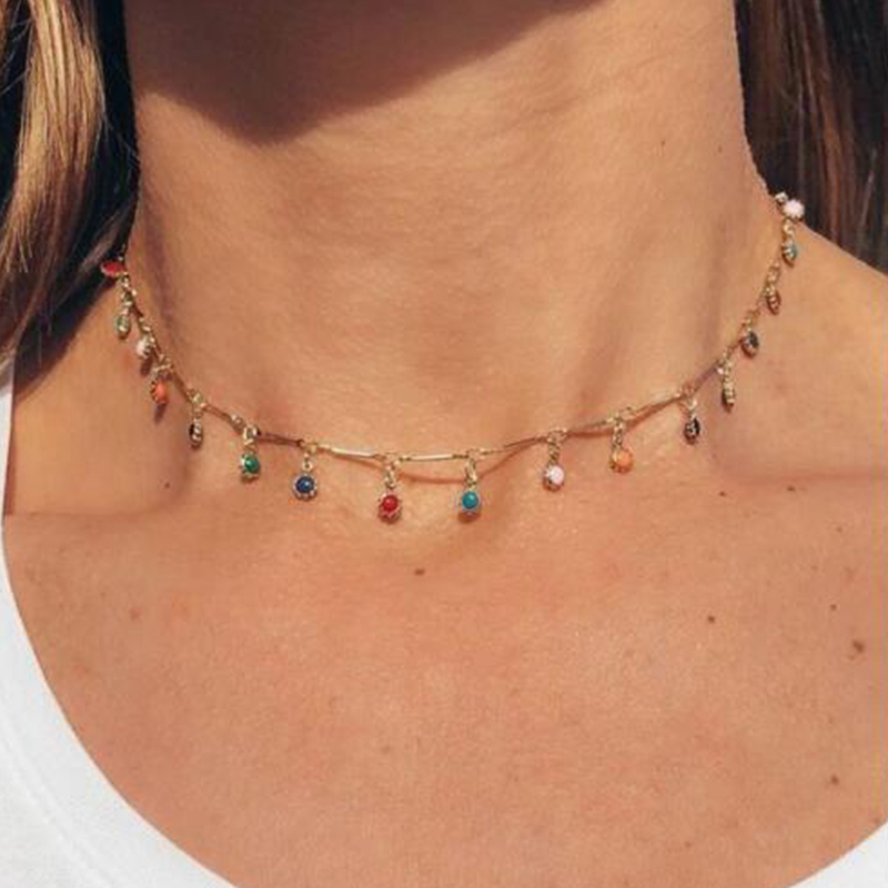 Tocona Single Layer Color Crystal Beads Pendant Clavicle Chain Necklace Women Boho Necklace Fashion Jewelry on the Neck B31203
