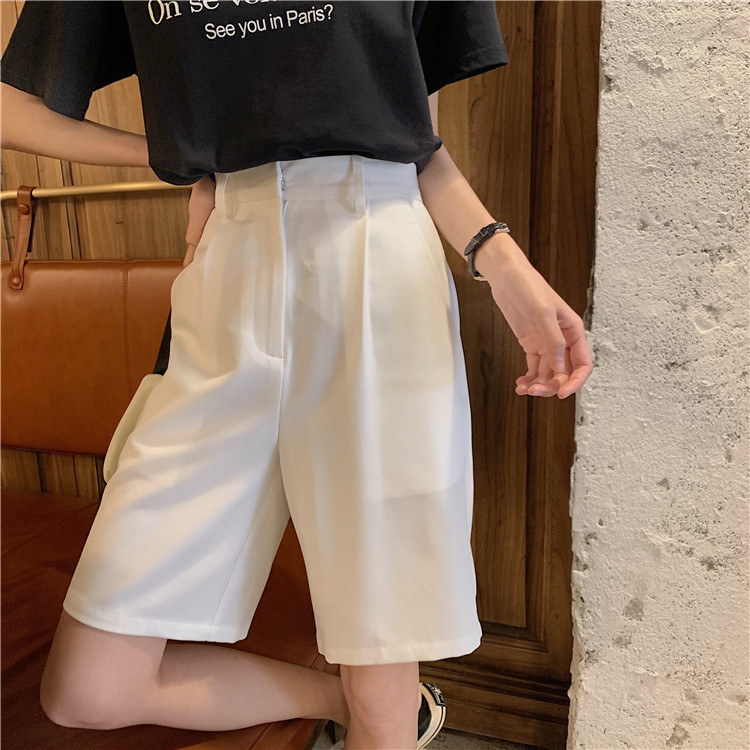 Hd7c40dab65ec43ac9c43722ab95d5868U - Summer High Waist Wide Leg Loose Solid Shorts