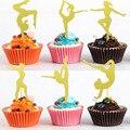 36 шт. Блестящий Золотой гимнастический торт для девочек, топ для гимнастики, кексы, еда, фруктовый десерт, выбор, товары для дня рождения