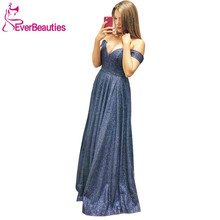 цена на вечерние платья Off The Shoulder Long Evening Dress 2020 Vestidos De Fiesta Sequins Robe De Soire Formal Party Dress