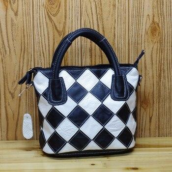High Quality Leather Women's Casual Leopard Pattern Stitching Female Handbag Fashion Color Random Spliced Shoulder Tote bag 580