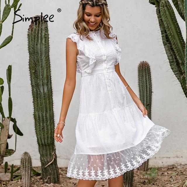 Simple Elegant ruffle lace white dress 3