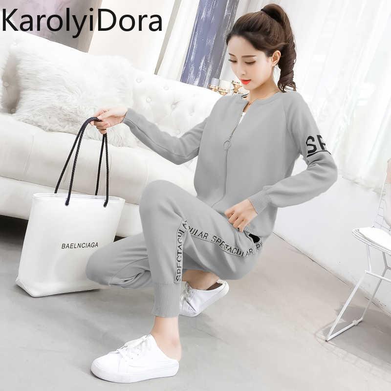 2020 봄과 가을 새로운 패션 니트 스웨터 스포츠 정장 여성의 카디건 얇은 캐주얼 바지 조수의 두 세트