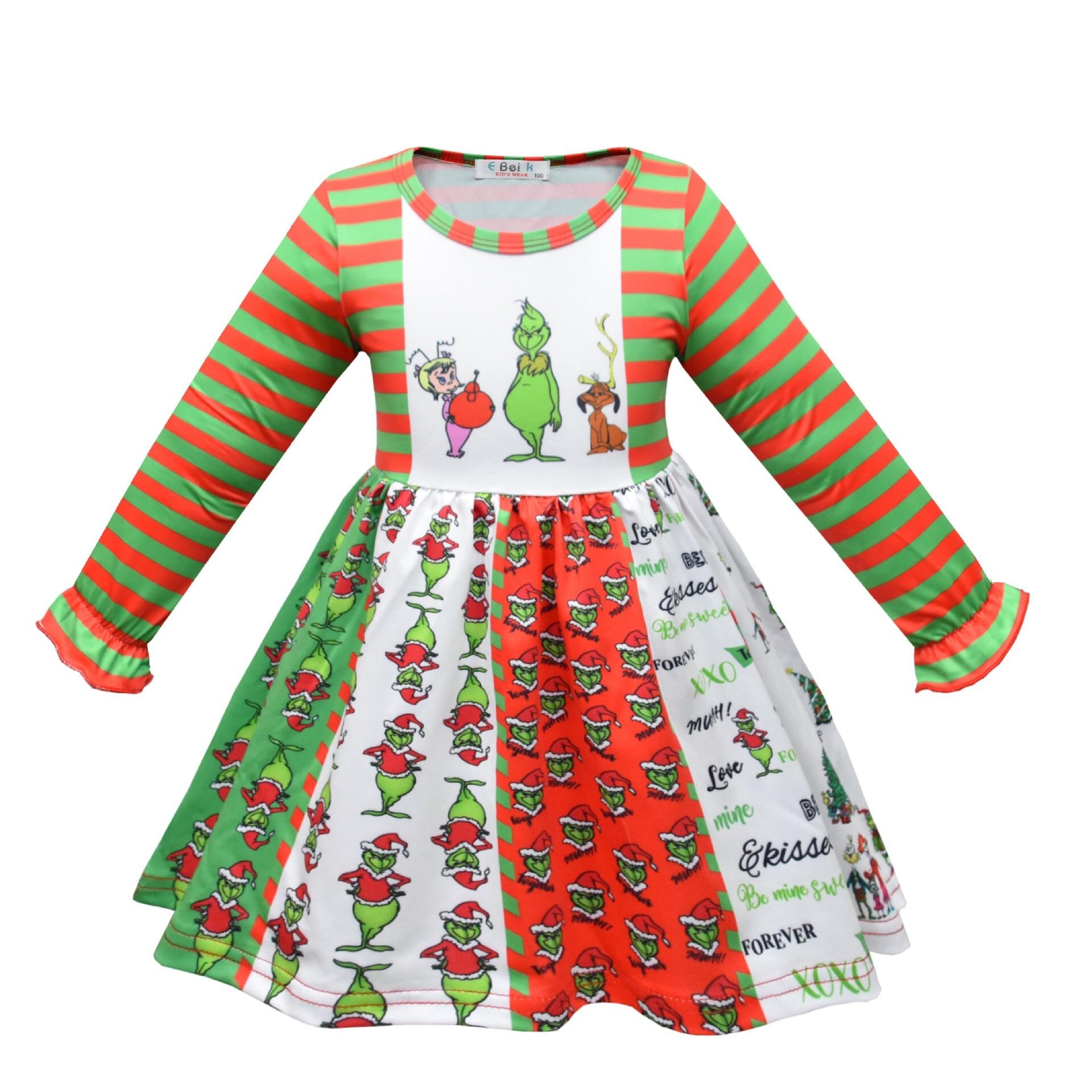 Girl Princess Dress Long Sleeve Grinch Cartoon Pattern Twirl Dress Christmas Dress 1