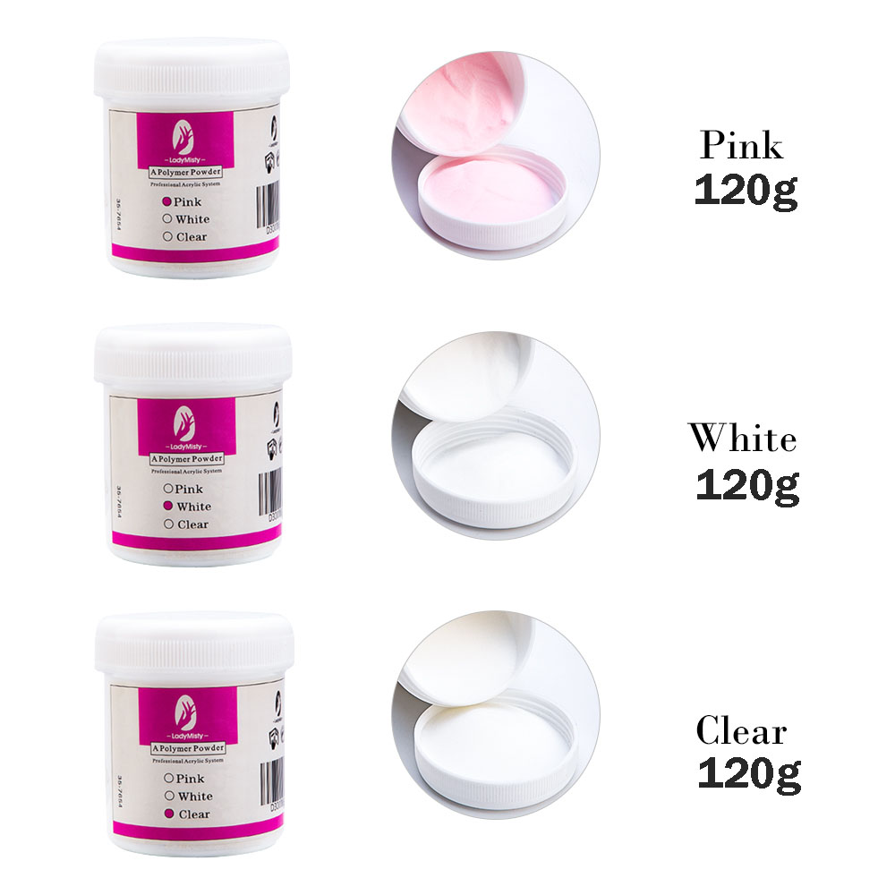 120ml Acrylic Powder Clear Pink White Carving Crystal Polymer 3D Nail Art Crystal Powders Builder Gel Tips Builder for Nails 12
