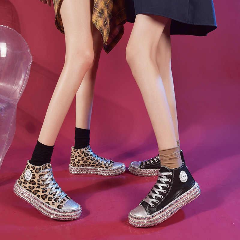 Rebite leopardo sapatos de lona das mulheres sapatilhas de alta qualidade vulcanizada sapatos de renda plana sapatos casuais sapatos femininos plataforma de renda