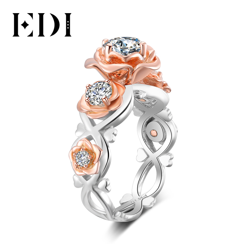 EDI Rose Flower 1CT Moissanite Diamond Wedding Ring Brilliant 14K 585 Multi-tone Gold Floral Rings Beauty And The Beast Jewelry
