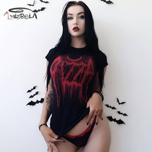 Imily Bela Vintage Gothic Red Letter Printed T Shirt Women Sexy Casual Short Sleeve T-shirt Summer Harajuku Tshirt Graphic Tees недорого