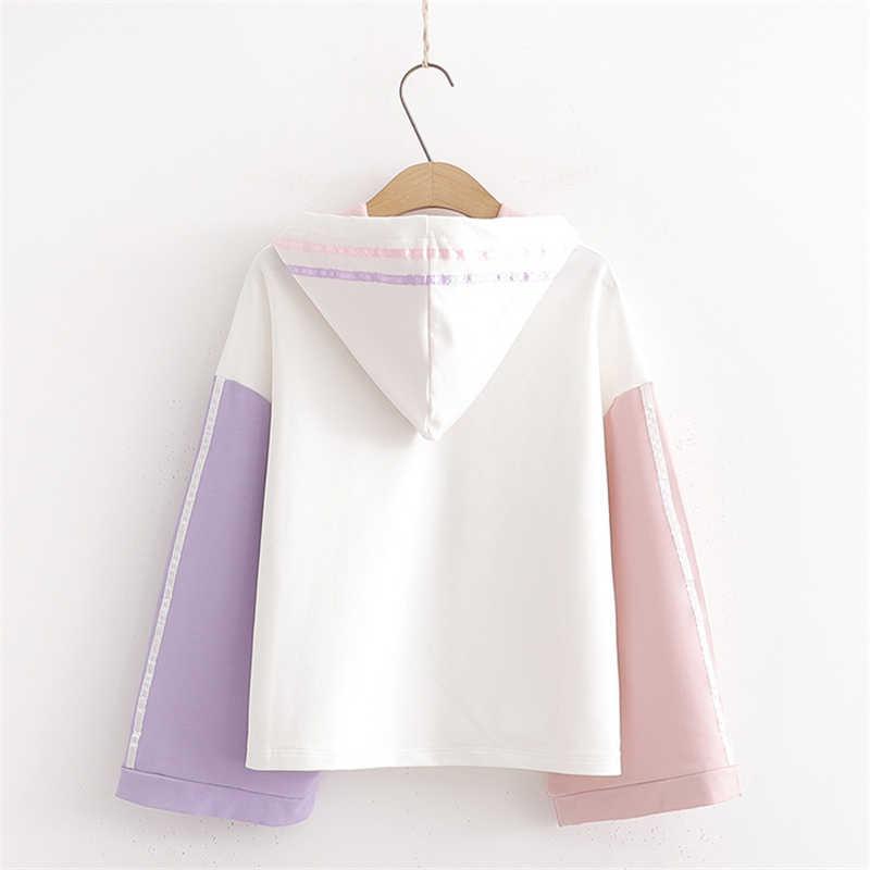 Frohe Ziemlich Baumwolle frauen Cartoon Print Harajuku Hoodies Sweatshirts 2019 Winter Langarm Kontrast Farbe Mit Kapuze Trainingsanzüge