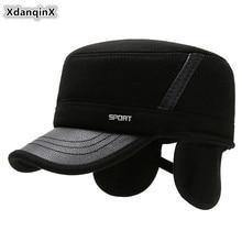 XdanqinX мужские зимние наушники, шапка, толстые теплые армейские военные шапки для мужчин, регулируемый размер головы, новинка, папа, хлопок, плоская кепка