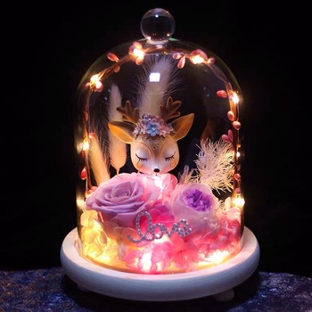Immortal flower a deer has your gift box round glass cover lamp Valentine's day rose birthday present to your girlfriend