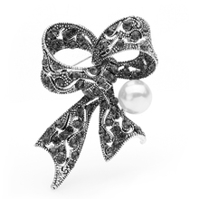 Wuli&baby Retro Bowknot Brooches For Women Alloy Simulated Pearl Brooch Pins Moms Gifts