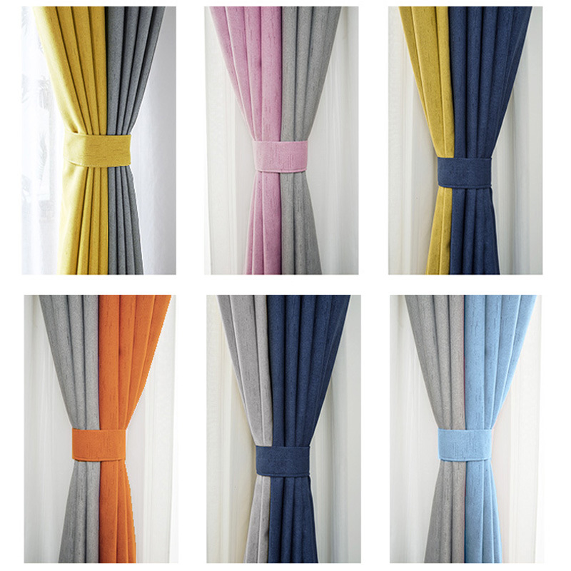 Modern Blackout Curtains For Living Room Decoration Colorblock Curtain For The Bedroom Grey Blue Curtain Drapes Pink Yellow