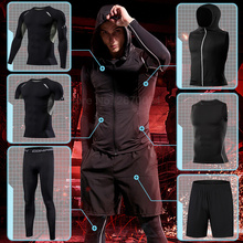 Mens Tight Sportswear Suits Running Sport Sets Gym Compression Sports Clothing Training Pants Fitness Jacket Workout Shorts MMA