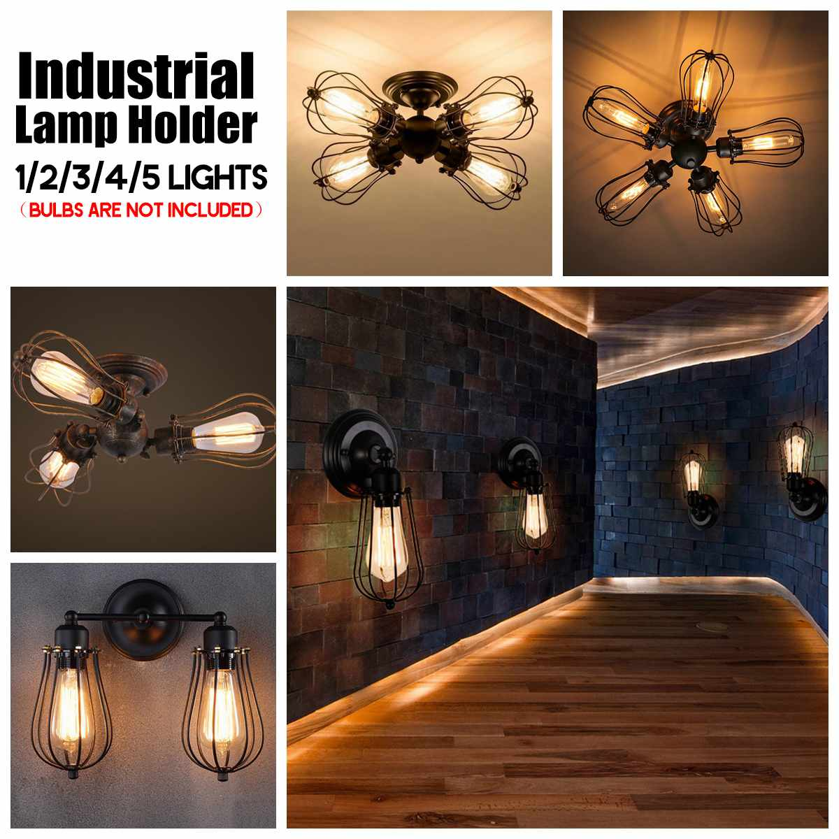 Industrial Pendant Light Industrial Edison 1/3 Head Lights Retro Barn Metal Flush Mount Ceiling Art Spide|Pendant Lights| |  - title=