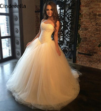 Cinderella Elegant Ivory Color Sweetheart Sleeveless A-Line Sweep Train Tulle Lace Applique Wedding Dresses vestido de noiva