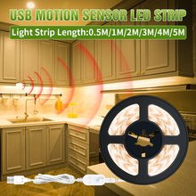 Taśma LED światło bezprzewodowy czujnik ruchu PIR oświetlenie kuchni szafka 5V Auto on off oświetlenie szafa schodowa szafa USB przyciemnianie światła