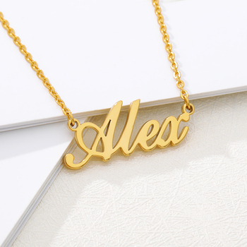 Customized Fashion Stainless Steel Name Necklace Personalized 	 Jewelry Letter Gold Choker Pendant Nameplate Christmas Gift customized women jewelry fashion stainless steel name necklace personalized letter gold choker necklace pendant nameplate gift