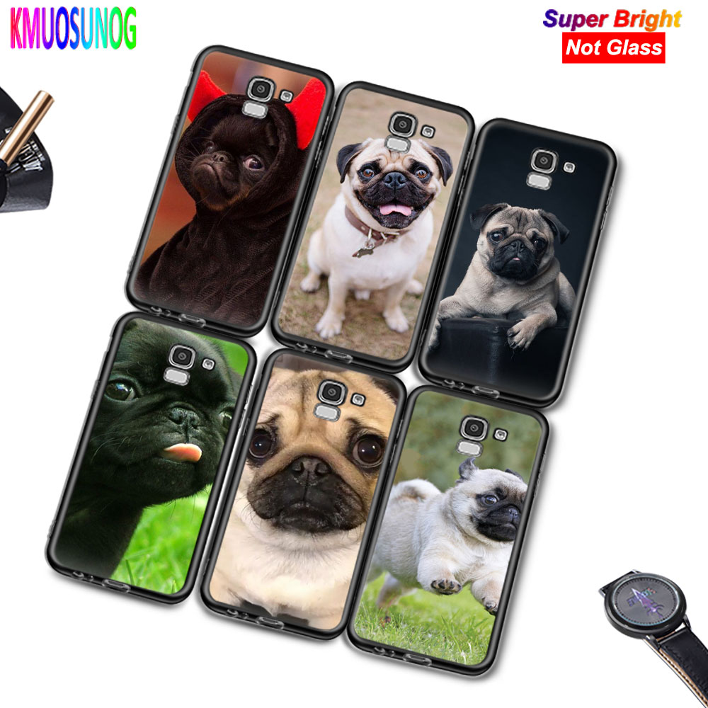 Black Silicone Cover Puppies Cubs Pug <font><b>Dogs</b></font> for <font><b>Samsung</b></font> Galaxy j2 j4 j6 Core Plus j3 j5 <font><b>j7</b></font> j8 2018 2017 2016 Phone <font><b>Case</b></font> image