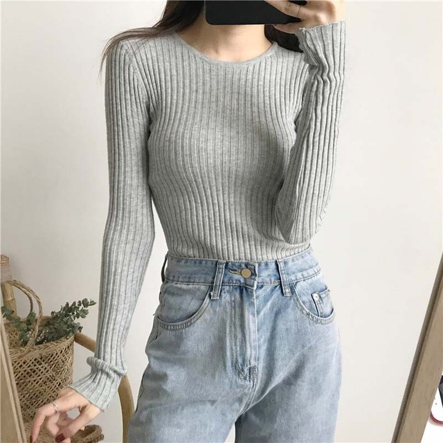 Basic Knitted Sweater Women Autumn Winter Bottoming Sweaters Pullover Lady Casual O-neck Slim Jumper 2