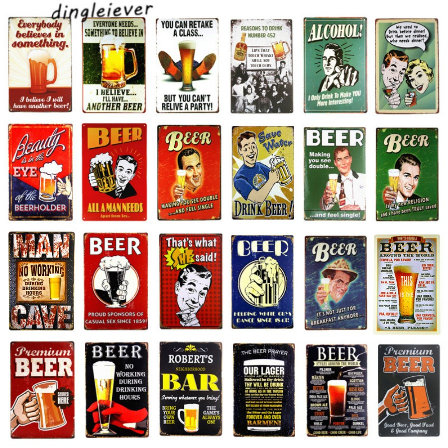 UOOPAI Beer Time Welcome The Happy Hour Lounge Vintage Metal Poster Retro Tin Sign Bar Wall Decor