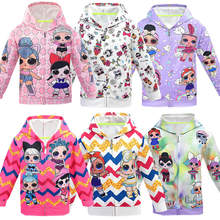 LOL Surprise Girl Baby Doll Kid Full Print manga larga cremallera Hoodie niño moda sudadera Tops inicio ropa abrigo(China)