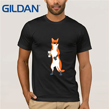Cool  Male Funky Slim Fit Tops fox Shirts Round Neck Summer Fall Cotton Top T-shirts Normal Short Sleeve Clothing Shirt