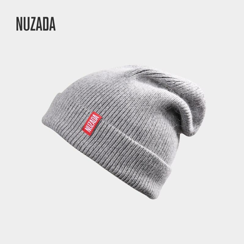 NUZADA Brand Letters Autumn Winter Hat Knitted Caps Men Women Skullies Beanies Cap Bonnet Wool Rabbit Hair Blend NUZADA