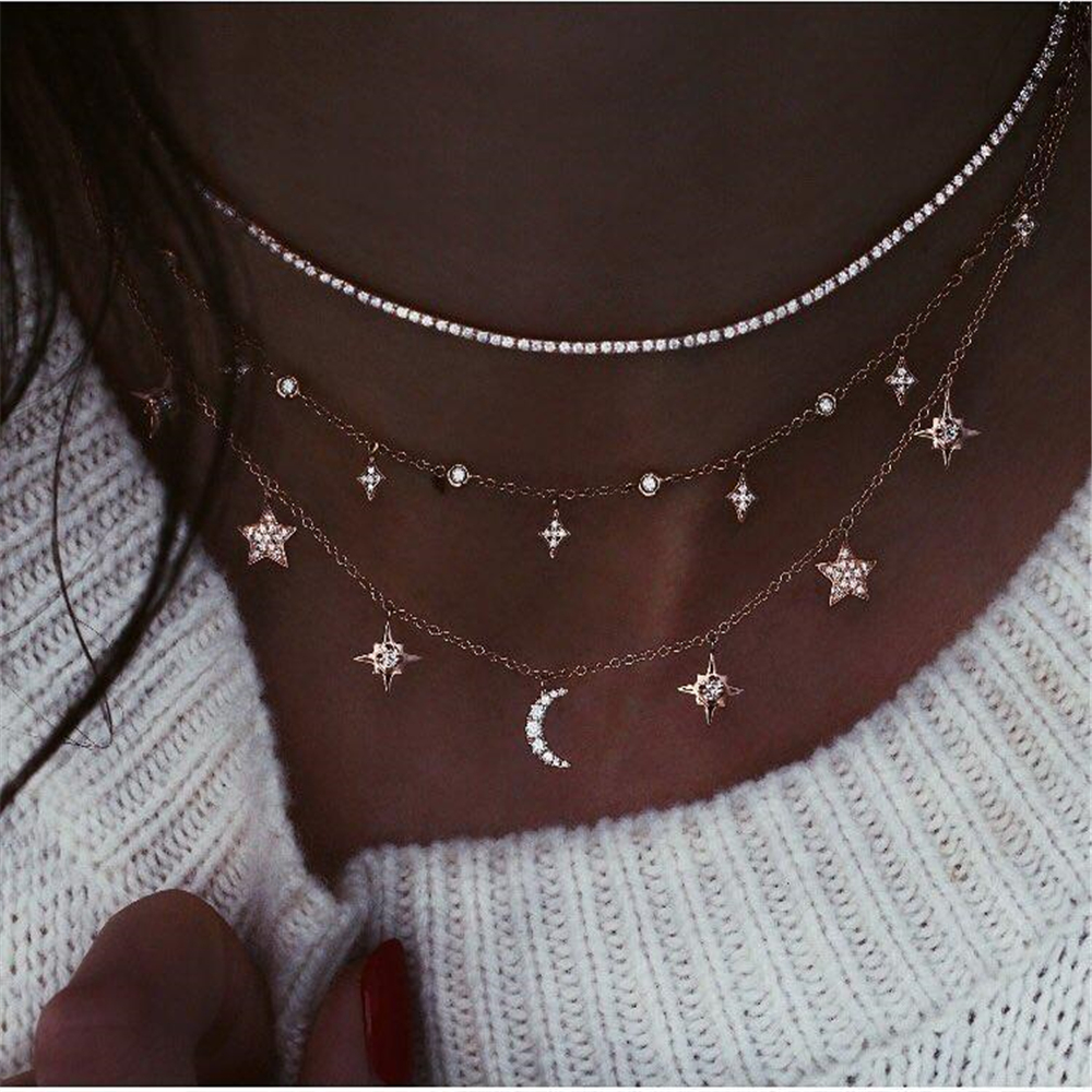 Vintage Gold Geometric Multilevel Necklaces For Women Boho Fashion Crystal Star Moon Sun Pendant Necklace Jewelry Party Gift