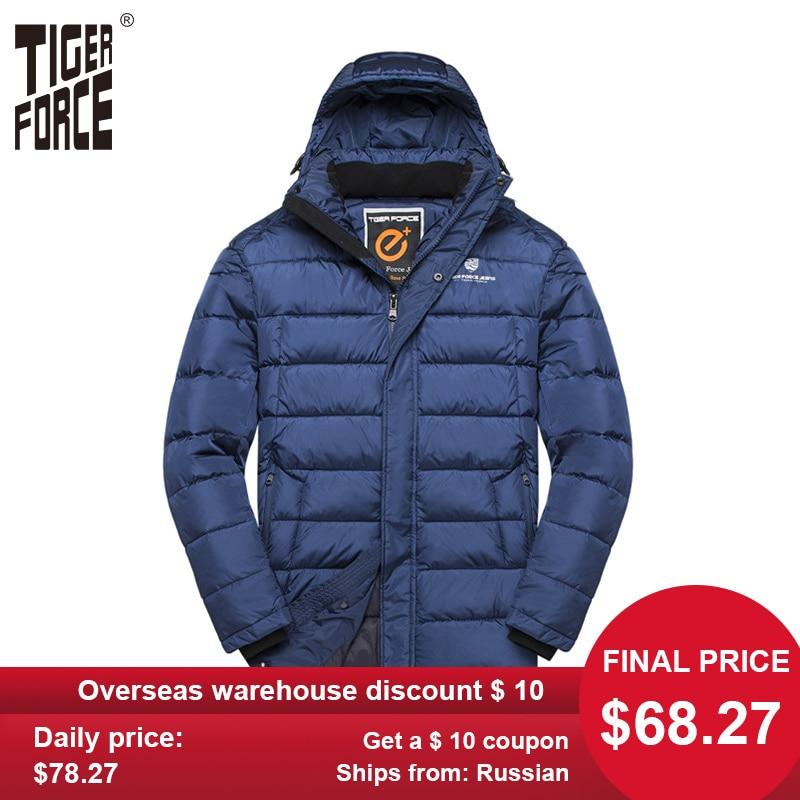 TIGER FORCE Men Padded Jacket Medium-Long Fashion Warm Overcoat Men Hooded Double Zipper Coat Men's Winter Jacket Plus Size