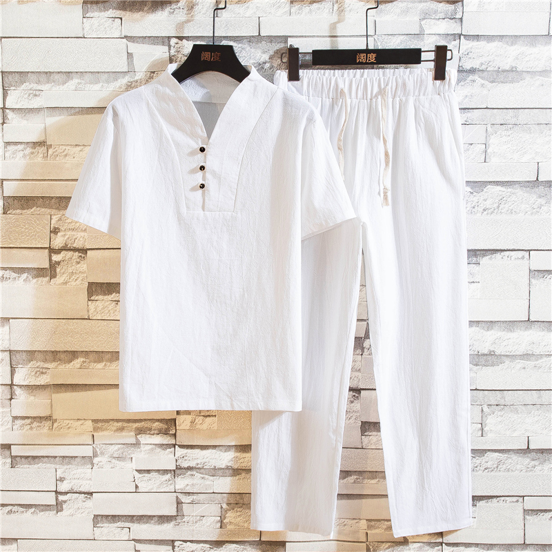 2019 New Pure Cotton Men Set Summer Comfortable and Breathable Men Short Sleeved Tee Shirt and Lace up Trousers Size S M XL 5XL