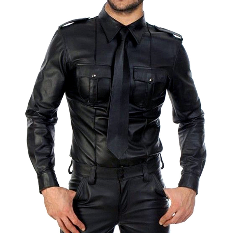 Men Faux Leather Long Sleeve Shirts PU Leather T Shirts Men Sexy Fitness Tops Gay Latex T-shirt Tees Men Sexy Party Clubwear