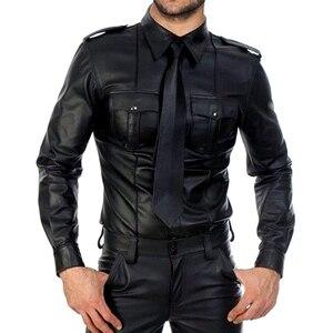 Image 1 - 男性フェイクレザー長袖シャツ Pu レザー Tシャツ男性セクシーなフィットネスゲイラテックス Tシャツ Tシャツトップス男性セクシーなパーティークラブウェア