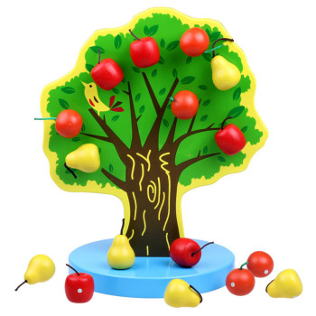 Montessori Wooden Magnetic Apple Tree Math Toy Puzzle Kindergarten Teaching Aids Fruit Pear Educational Mathematics Toys For Kid wooden mathematics teaching aids calculation frame children early education puzzle educational toys montessori in math toy