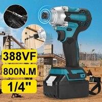 Llave de impacto eléctrica sin escobillas 388vf 800n. M, destornillador de 1/4 pulgadas, herramientas eléctricas con batería de litio de 19800mAmh