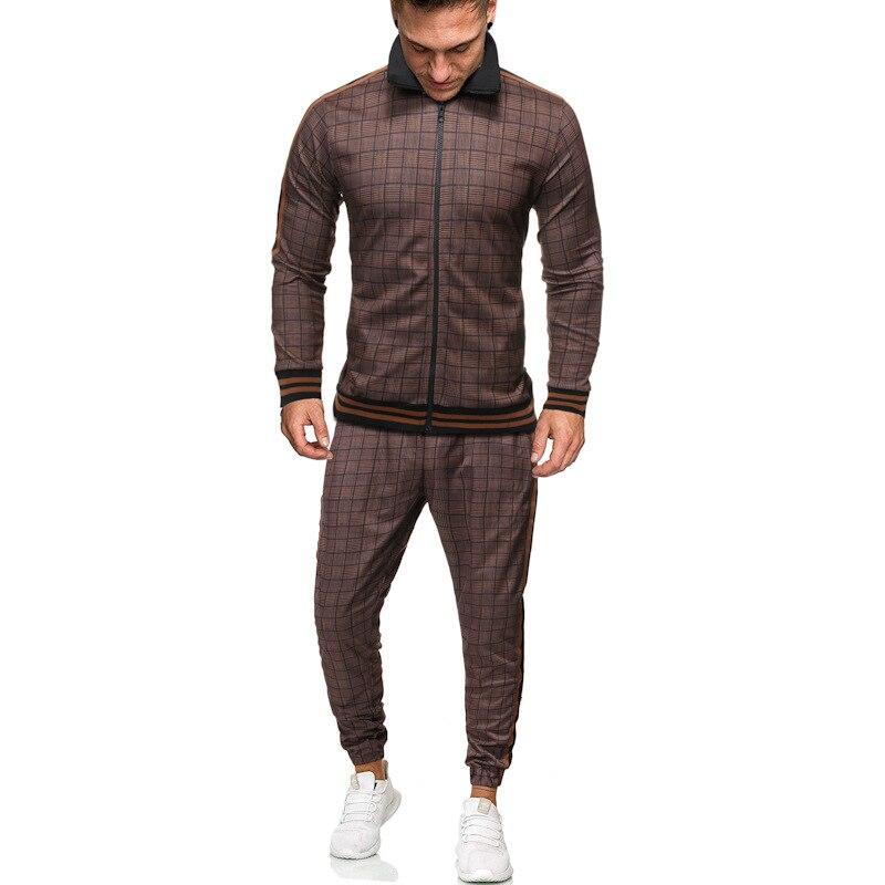 Sport Suit Men's Sportswear Casual Two Piece Set Digital Printing Plaid Tracksuit Men Jogging Spring Autumn Men Clothes