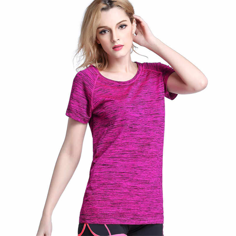 夏ヨガシャツ女性の速乾スポーツ半袖フィットネスはカジュアルルーズ通気性ランニング tシャツジムの女性トップシャツ