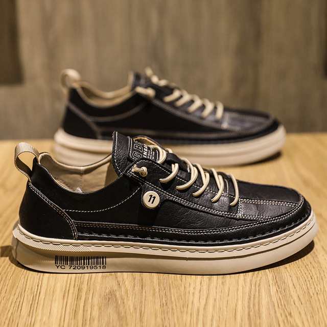 Spring Summer Casual PU Leather Shoe Trend Men's Shoes Wild Mens Flats Shoes Waterproof Non-slip Board Shoe Male Footwear