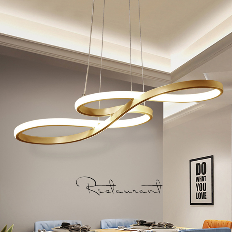 Modern LED Pendent Lights Musical Note kitchen Decor Hanging Lamp Nordic Simple Curved Light For Living Room Home Loft Lighting