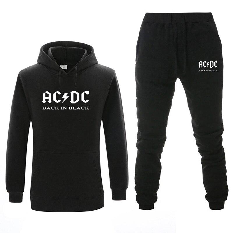 New Tracksuit Men Thermal Men Sportswear Sets Fleece Thick Hoodie+Pants Set AC DC Hoodies Sets Men Winter Sweatshirts Clothing