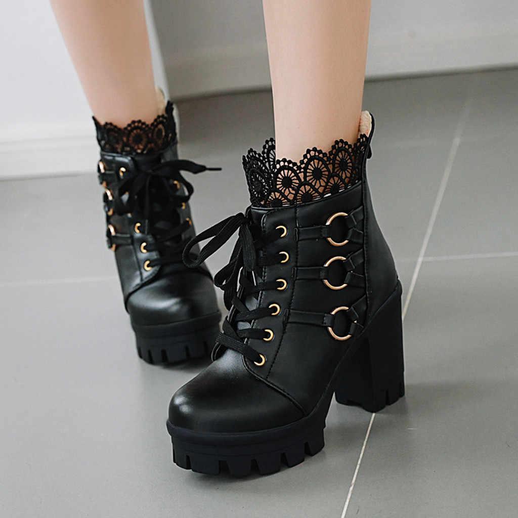 Kadın ayakkabısı kore gotik ayakkabı botlar kadın Moda Kış Dantel Saf Renk Yüksek Topuklu Kadın yarım çizmeler parti ayakkabıları # g4