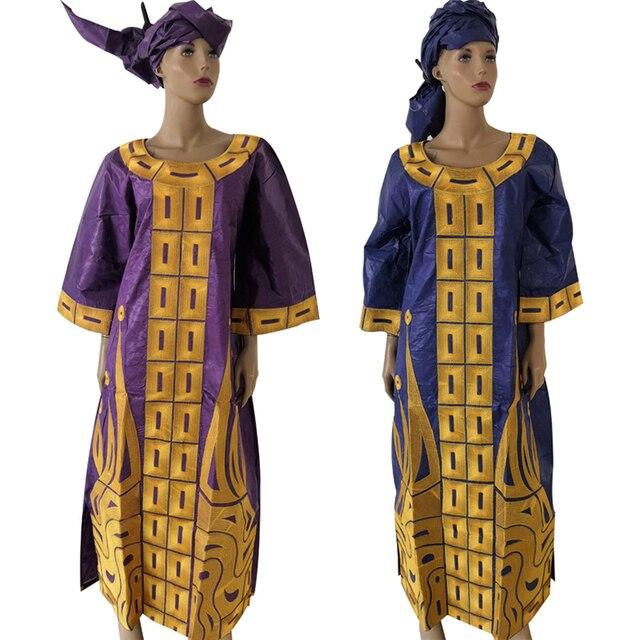 Md 2020 新デザインのコットンアフリカ服バザンricheための女性の伝統的な刺繍ドレスターバンアフリカ女性セット