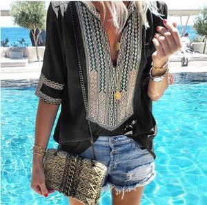 Image 4 - ผู้หญิง 2020 เสื้อฤดูร้อนใหม่เสื้อผู้หญิงลาย V คอครึ่งแขนเสื้อ Blusas แฟชั่นหญิง Streetwear เสื้อ