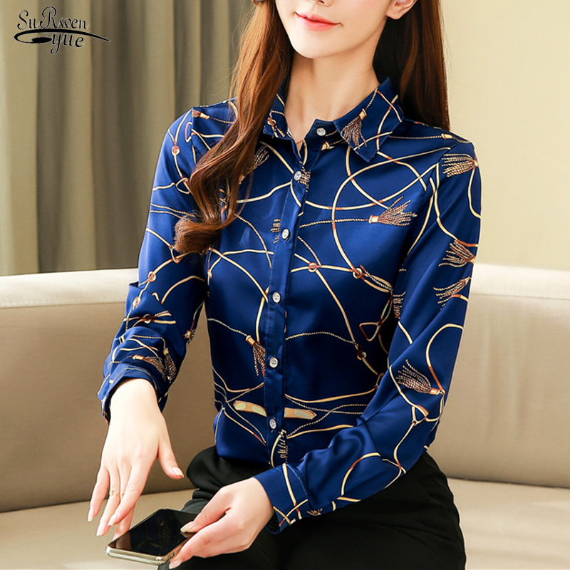New Silk Shirt Women's Korean 2020 New autumn Long Sleeve Casual Cardigan Print Women Blouse and Tops Blusas Mujer 8185 50