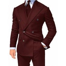 Suits Jacket Tuxedo Blazer Double-Breasted for Banquet Dancing 2pieces Bus Gentlemen's