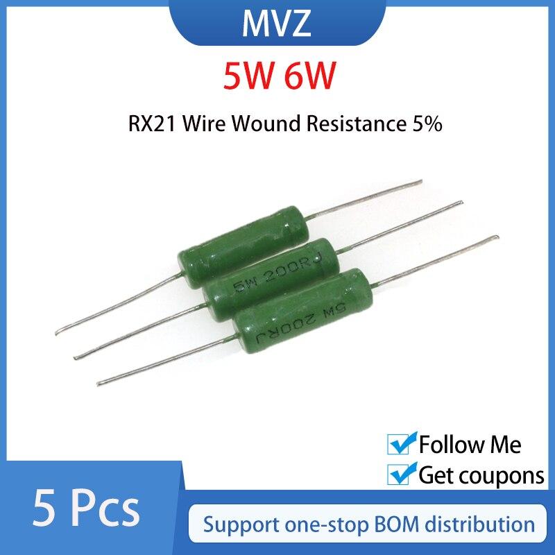 5PCS RX21 5W 6W Wire Wound Resistência 5% 0.1R 0.15R 0.22R 0.33R 0.39R 0.47R 0.5R 0.51R 0.62R 0.68R 0.82R 1R 1.2R 1.5R 1.8R Ohm