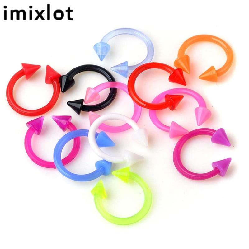 Imixlot 12 шт./лот, разноцветные кольца для носа, пирсинг, Открытый круг, живот, губы, язык, пупок, пирсинг, ювелирные изделия для тела, аксессуары